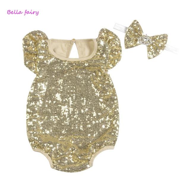 Sequin Menina Romper Do Bebê Macacão de bebê 2016 Novo Estilo de Verão Do Bebê Do Algodão Conjunto de Roupas Meninas Crianças Jumpsuit