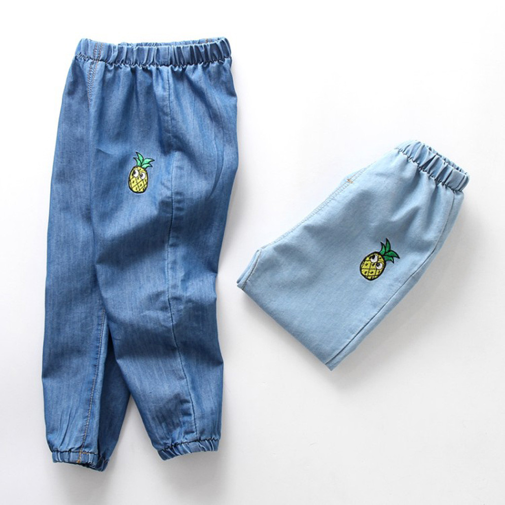Jeans Anti-Mosquito-Pants Long-Pants Girl Baby Denim Cartoon-Hole Boy 12M-3Y FR5 Elastic-Waist
