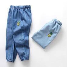 Детские джинсы противомоскитные штаны для маленьких мальчиков и девочек длинные джинсовые штаны с дырками и рисунками джинсовая одежда с эластичной резинкой на талии для 12 мес.-3 лет FR5