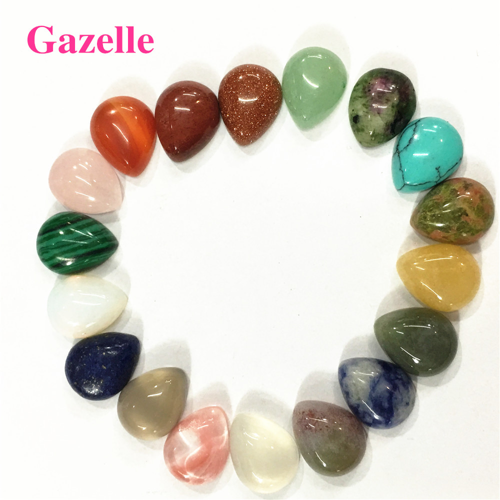 10*14mm Assorted Mixed Water Drop CAB Cabochon Beads Healing Reiki Agates Opal Roses Quartz Topazs Beads Jewelry Making 50PCS