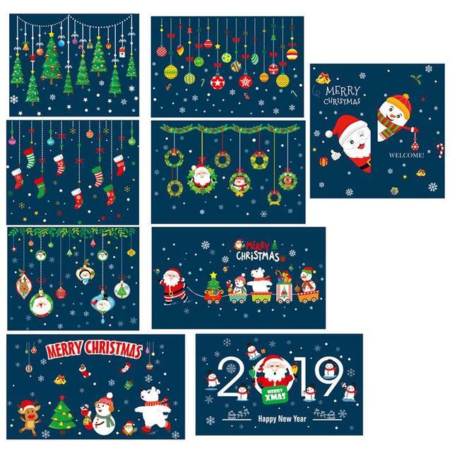 Home Decor новогодние наклейки на окно самоклеющиеся висит снеговик новогодние шары Дерево Венок Санта Клаус 2019 подвеска Новый год