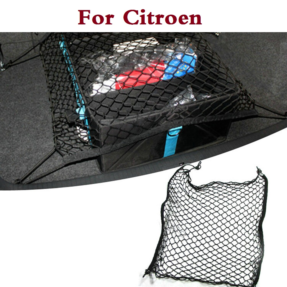 High quality Nylon Car Trunk Organizer Storage Elastic Mesh Net 4 Hooks Fit For Citroen C1 C2 C3 C4 C4 Aircross C4 Cactus C5 C6 image