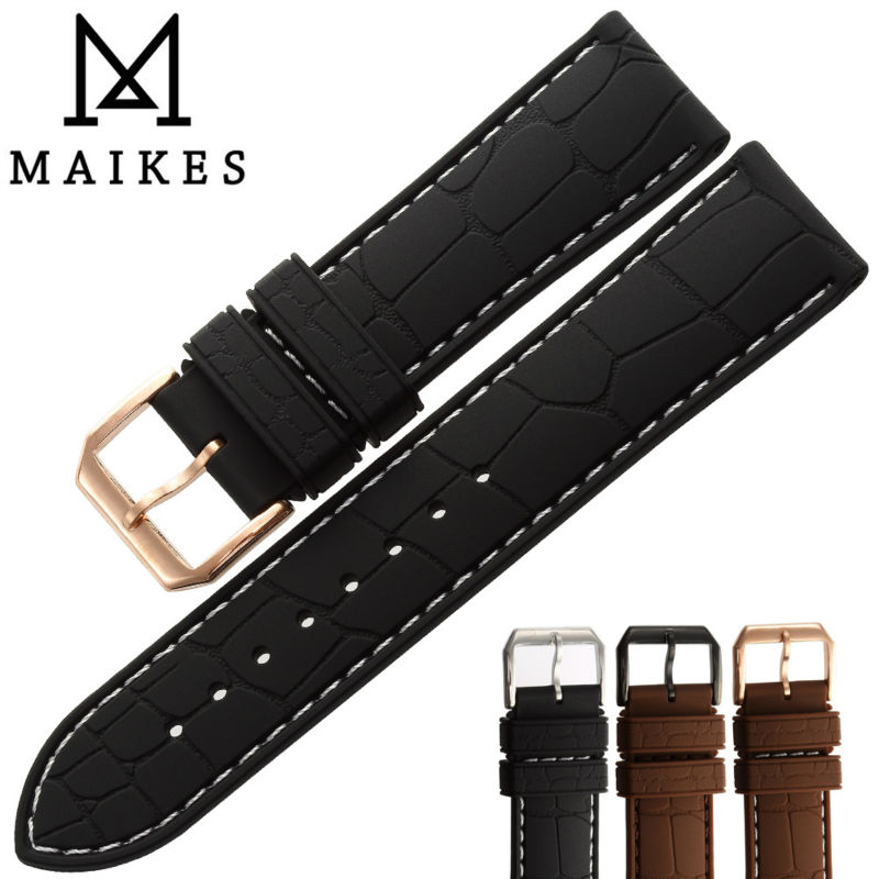 MAIKES Hot Sale New Sports Watches Strap Waterproof Sweatproof Silicone Rubber 22mm 20mm Men Comfortable Watch band maikes new 20 22 24 mm watchbands accessories silicone rubber watch band strap black watches bracelet belt for sports watch