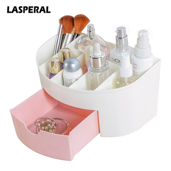 LASPERAL Plastic Cosmetic Storage Box With Small Drawer Multi-functional Jewelry Box Desk Sundries Storage Container Organizer makeup organizer box