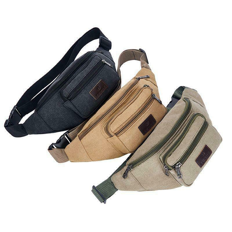 Men Casual  Fanny Pack Waist Bags Belt Canvas Hip Bum Bag Pouch Three Zipper Pockets 2019 New