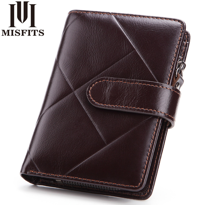 Minimalist Credit Card Holders Crazy Horse Leather Man Wallet Luxury Money Purse Leather Men Handmade Dsigners Bags