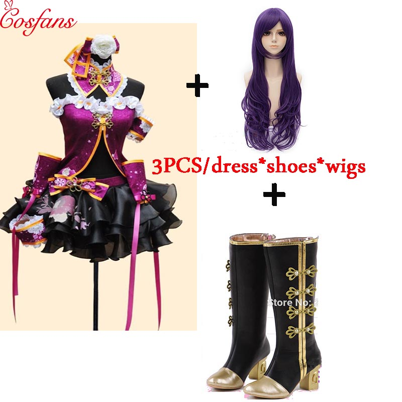 2018 NEW Love Live Tojo Nozomi Purple Dress LoveLive Cheongsam Cosplay Costume With Shoes Wig Love Live Cosplay Aqours Halloween