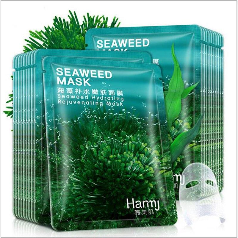 30pcs Sheet Mask Korean Beauty Seaweed Mask Hydrating Rejuvenation Hyaluronic Acid Moisturizing Silk Mask Skin Care Cosmetics