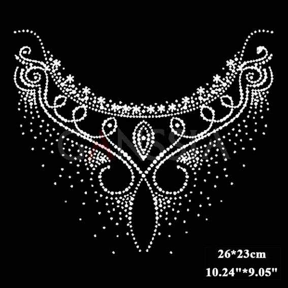 c8b6a6a59b 4pcs/lot Stylish neckline flat back hotfix rhinestone Heat transfer iron on  motifs Rhinestone applique 5 Colors desgin(ss-1913)