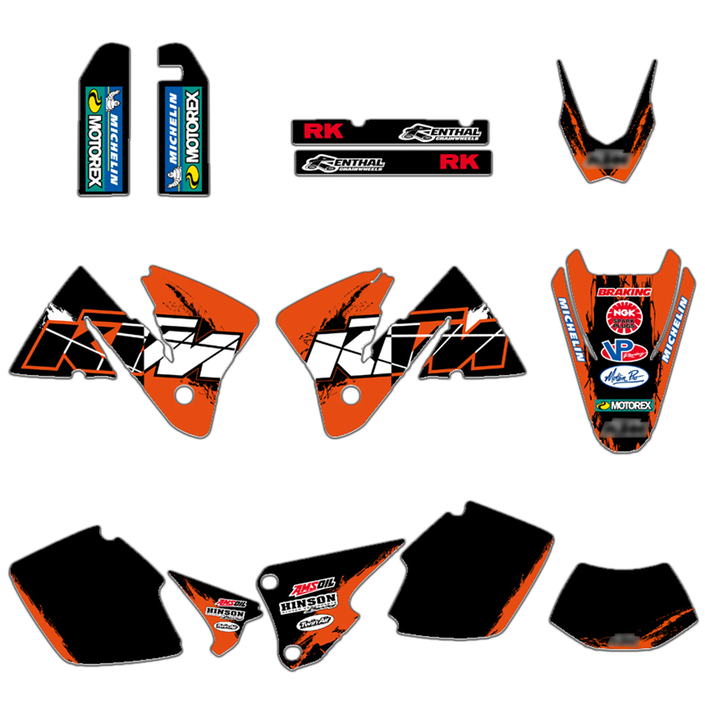 NEW TEAM GRAPHICS WITH BACKGROUNDS DECLAS STICKERS FIT FOR KTM EXC 250 300 350 400 520