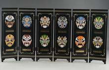 China soberba laca ware handwork pintura seis fãs pequim opera máscara tela.