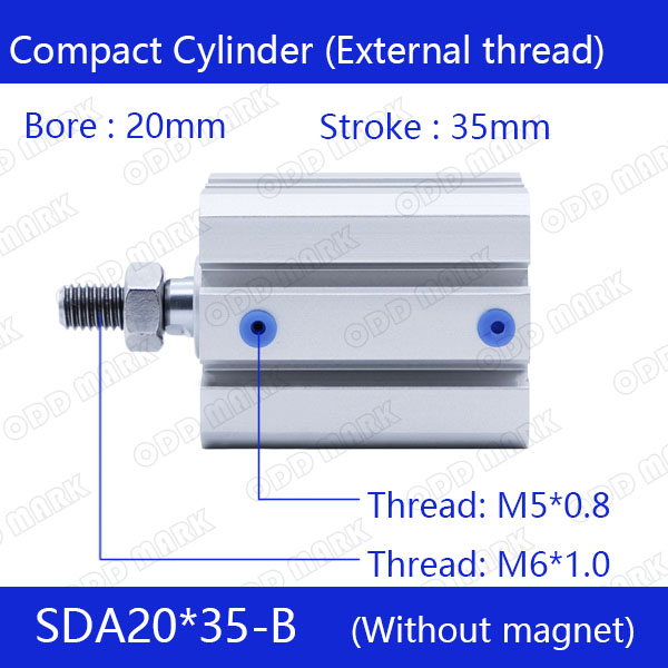 SDA20*35-B Free shipping 20mm Bore 35mm Stroke External thread Compact Air Cylinders Dual Action Air Pneumatic Cylinder sda100 35 b free shipping 100mm bore 35mm stroke external thread compact air cylinders dual action air pneumatic cylinder