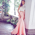 2 Pieces Prom Dresses 2017 High-Neck Sleeveless Backless Sweep Train Satin Crystal Party Gowns Mermaid Evening Dress 2016