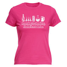 ACCORDING TO CHEMISTRY ALCOHOL SOLUTION WOMENS T-SHIRT Geek Funny Mothers Day T Shirts Short Sleeve Lady Top Shirts