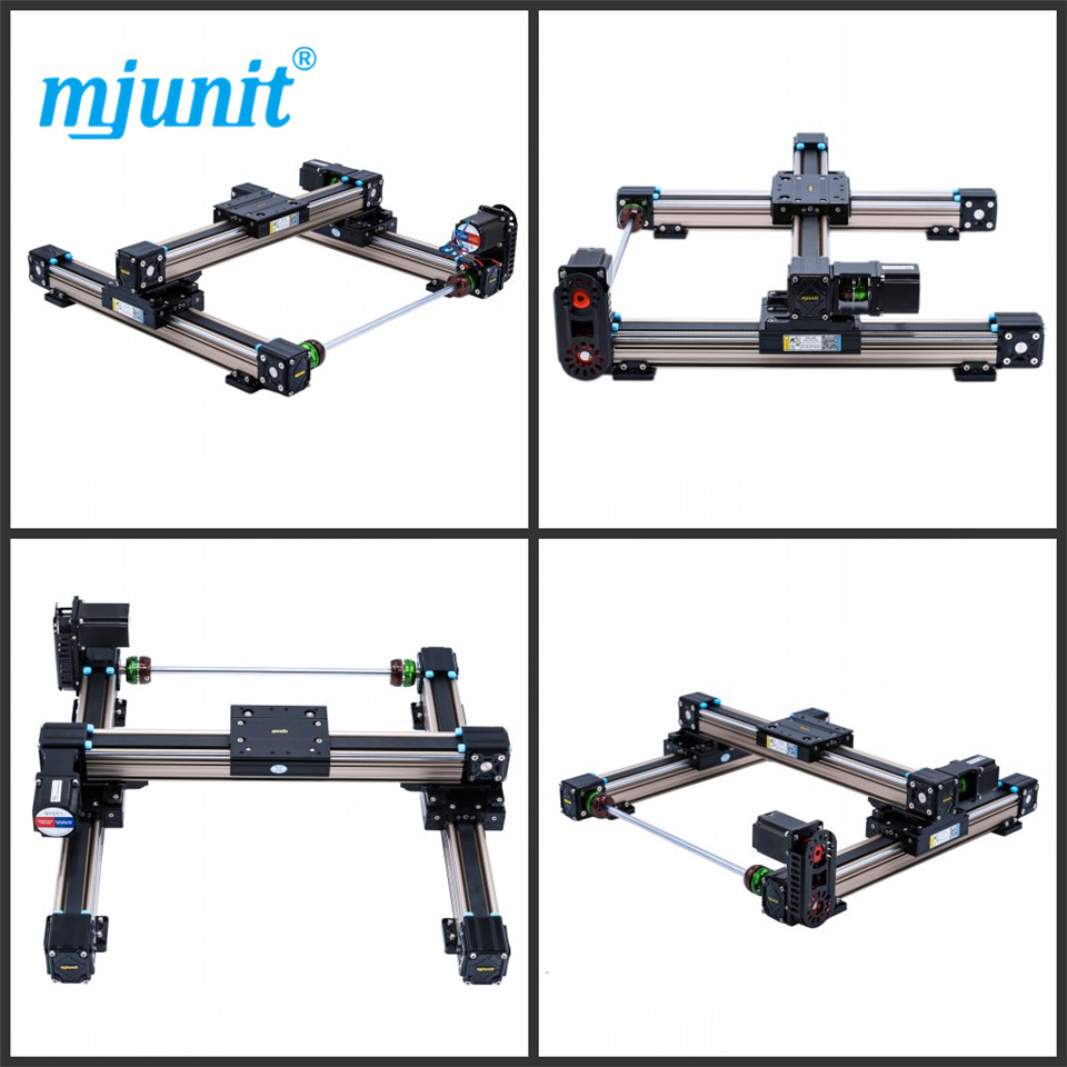 mjunit MJ50 xy axis with 200x200mm stroke length linear actuator linear guide rail linear motion flat austria ruwido i 1k 100k 220k 470k axis length 50mm