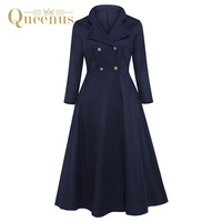 Queenus Autumn Winter Women Dress Long Sleeve Mid Calf Turn Down Collar Cotton Office Lady Dress