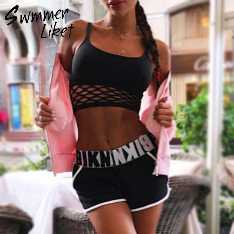 High Waist Mesh Bikini 2019 Sports Swimwear Women Bathers Bandeau Black Swimsuit Female Bathing Suit Letter Two-piece Suit New
