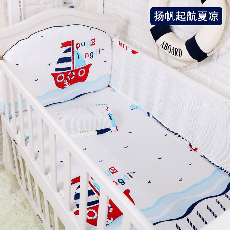 Summer Breathable 5pcs/set Crib Bumpers Set, 3D Mesh Cloth Baby Bed Liner Bumper+Bed Sheet, Baby Cot Sets Bed Around Protector 4pcs set cartoon animal baby cloth book knowledge around multi touch multifunction fun and double color colorful bed bumper