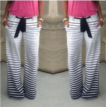 2016 Hot Sale Stripe Comfortable Casual Pants With Belt Pantalones Mujer Plus Size Women Loose Striped Pants Femme Survetement