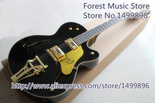 Cheap High Quality Black Falcon G6136 TBK Jazz Electric Guitar Maple Hollow Body Guitarra For Sale