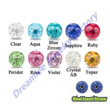 Lot of 30pcs Bling CZ Ferido Crystal Epoxy Ball 16g Of Inner Thread Fit Gauge Body Accessories Piercing Jewelry