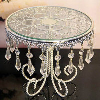 DIA 21cm Round Shape Silver Metal Clear Acrylic Crystal Strand Glass Mirror Fruit Plate Birthday Cake