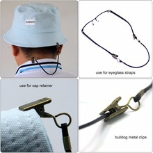 SAMS Fishing 3pcs PU Leather Cap Eyewear Retainer Strap Hat Leash Keeper Holder Cord for Fishing Apparel Keeper Windproof Clip