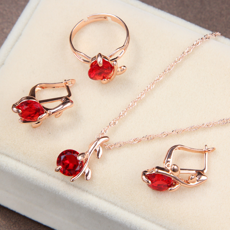 Wedding-Jewelry-Sets Jewerly Crystal Necklaces Zircon Round-Pendant Bridal Charm Red