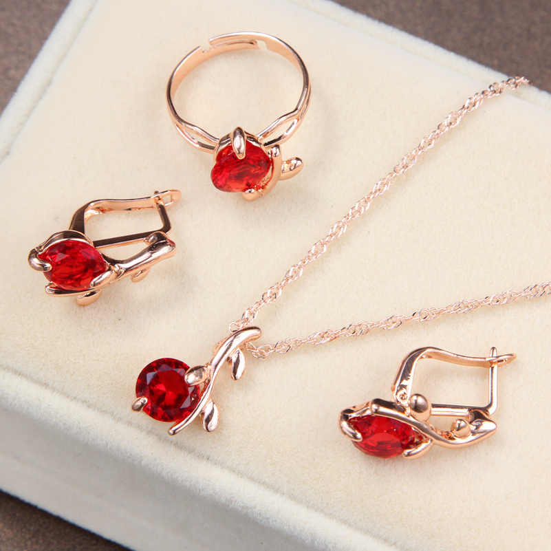 Women bridal Wedding Jewelry Sets Charm red Crystal Round Pendant Necklaces Earrings Sets Shininy Zircon bijoux femme jewerly