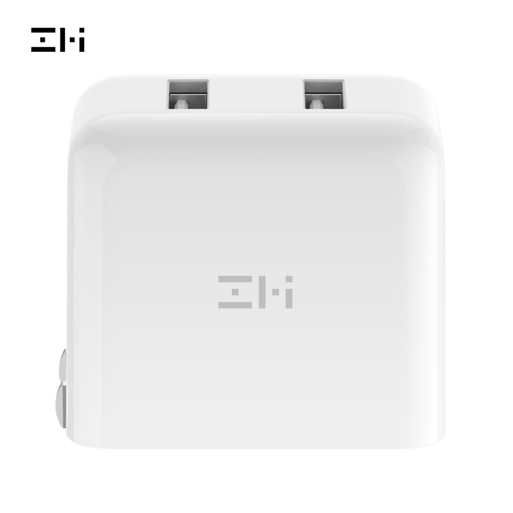 ZMI HA622 V2 Charger Wall Adapter, Foldable Prong Travel Plug Wall Charger With 2 USB Ports