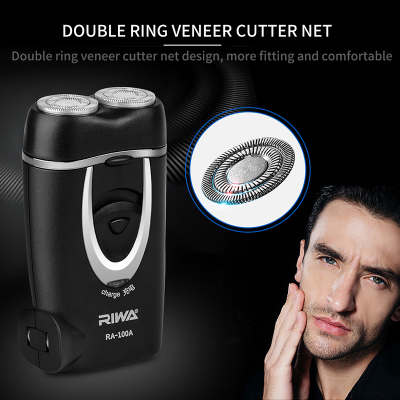 Riwa Rechargeable Rotary Shaver Razor with Independent Floating Blade Automatic Grinding Head Barber Shave for Men Face Beard philips electirc shaver at798 rotary with 3d floating heads ribbed rubber handle rechargeable 100 240v for men s electric razor