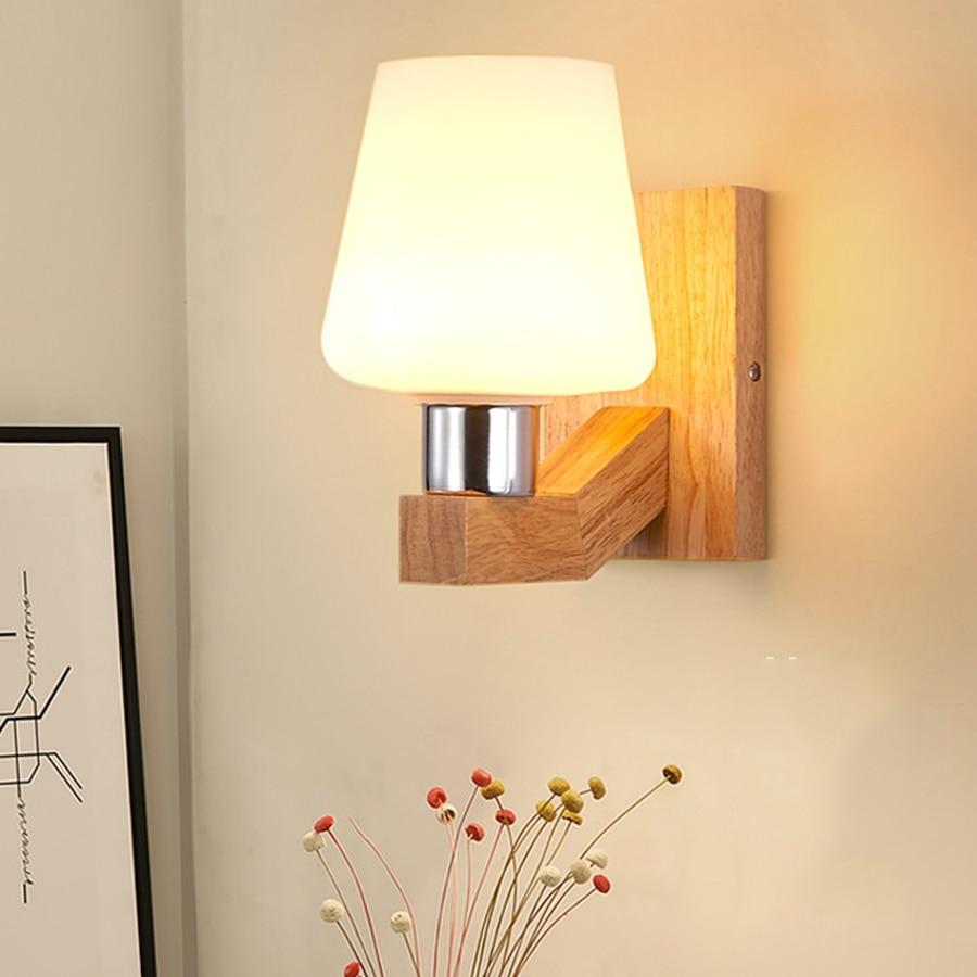Licht & Beleuchtung Unparteiisch Thrisdar Moderne Nordic Holz Glas Led Wand Lampe E27 Schlafzimmer Nacht Persönlichkeit FÜhrte Wand Licht Korridor Wohnzimmer Wand Lampe Verpackung Der Nominierten Marke