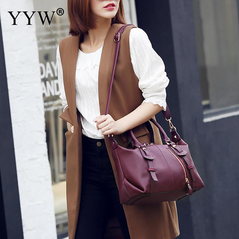 Elegant Women Leather Handbags Fashion Tote Good Quality Clutches Bolsa  Feminina Sac A Main Black Burgundy Bags -in Top-Handle Bags from Luggage    Bags on ... f78f8e75075e9