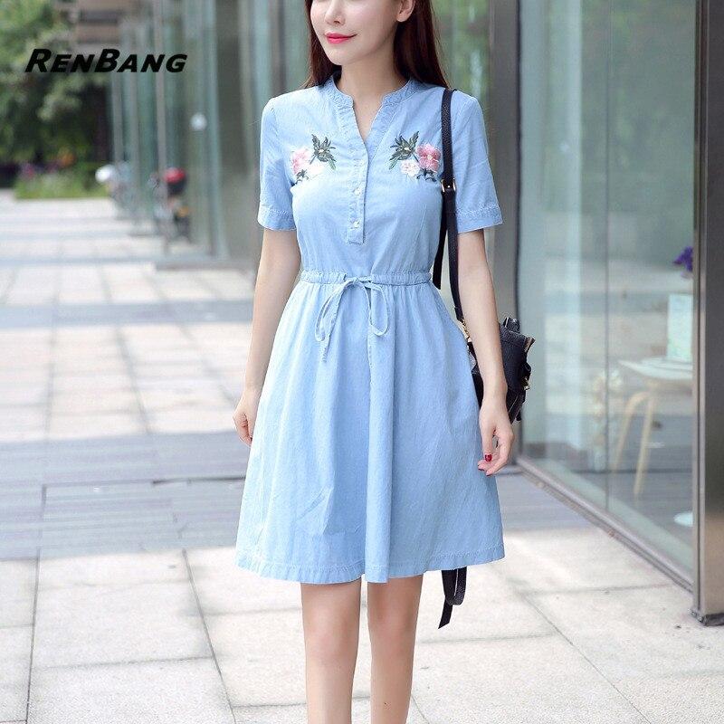 a349e8ee96c RENBANG 2018 New Arrival Quality Plus Size Women Clothes Female Fashion  Casual Denim Dress Elegant Slim