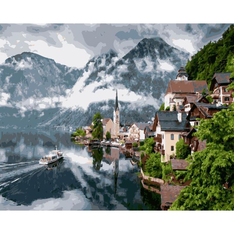 Rahmenlose fantasie dorf diy malerei by zahlinstallationssätze acryl auf leinwand landschaft handgemalte ölgemälde für wohnkultur