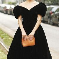 New Fashion High Quality Women's vintage runway dress Elegant Puff sleeve blue black Velvet Ball Gown Long Dress