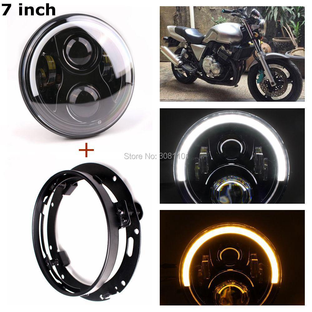 """4*12 Вт 7 дюймов LED фары с бело-Янтарь Halo кольцо для Harley и 7"""" кронштейн фары для моделей Харли Трайк 2009-2013 эст."""