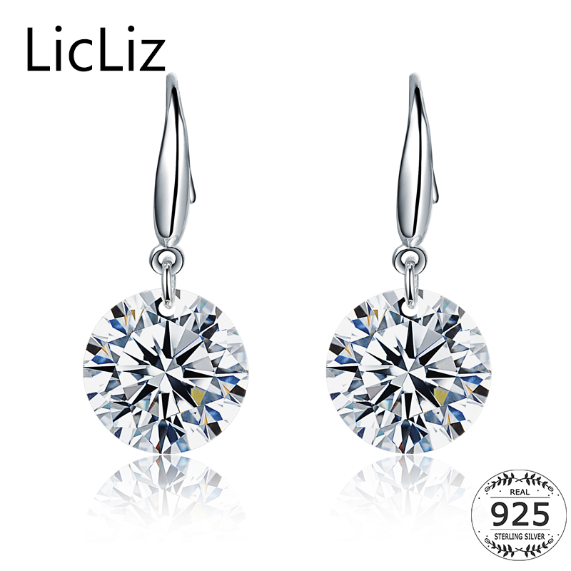 LicLiz 925 Sterling Silver Cubic Zirconia Drop Earrings For Women Fish Ear Hook Earrings Dangle CZ Stone Pendant Earring LE0344