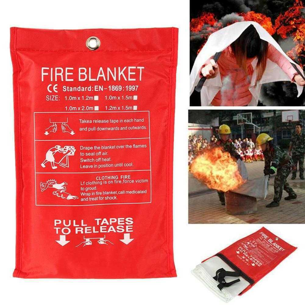 Fire Emergency Blanket Survival Fiberglass Shelter Safety Cover for Home Kitchen Camping UY8