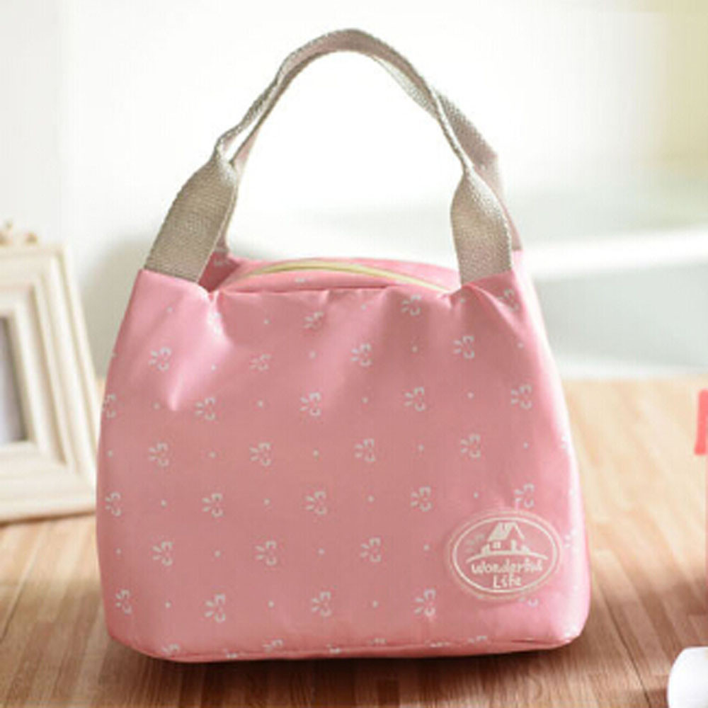 Fashion Pink Color Insulated Lunch Bag Fresh Cooler Thermal Food Storage Lunch Box Travel Picnic Tote Bags For Women Girls Kids