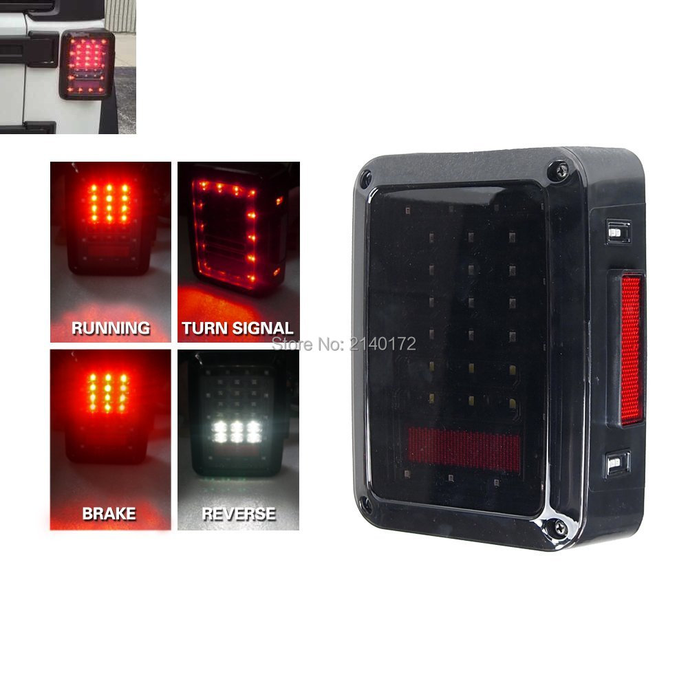 For Jeeps LED Taillights 12V LED Brake Tail Light Rear Signal Reverse Lamps for 07-15 Jeep Wrangler US Version/Euro Version 2 pcs led rear lights us europe version brake reverse tail lamps for atv 4x4 truck off road automobile auto for jeep wrangler