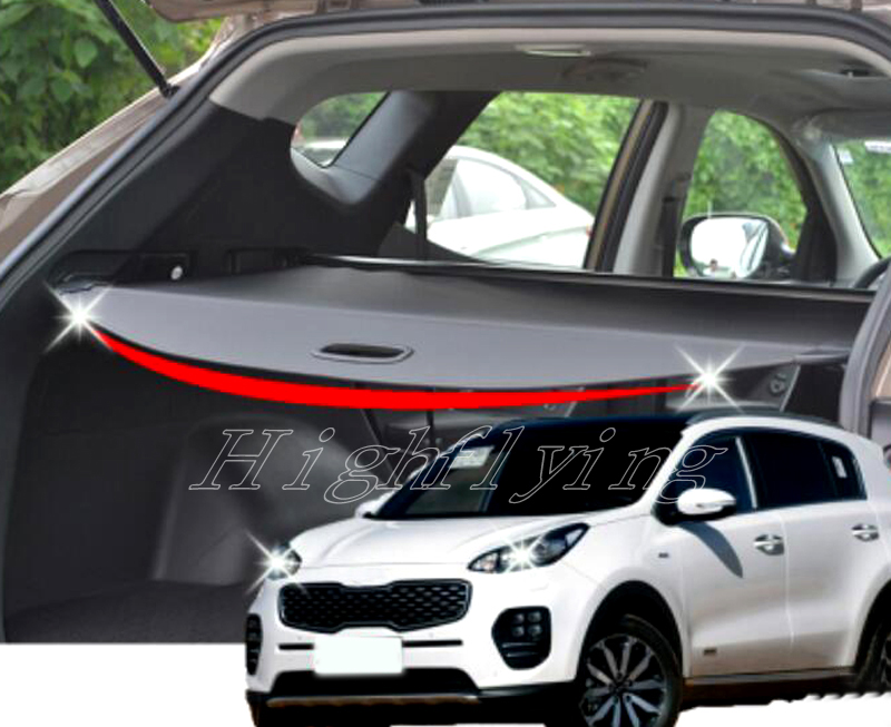 цена на Rear Trail Trunk Cargo Cover Security Shield Shade Black For Kia Sportage KX5 2016 2017 2018 car-styling accessories