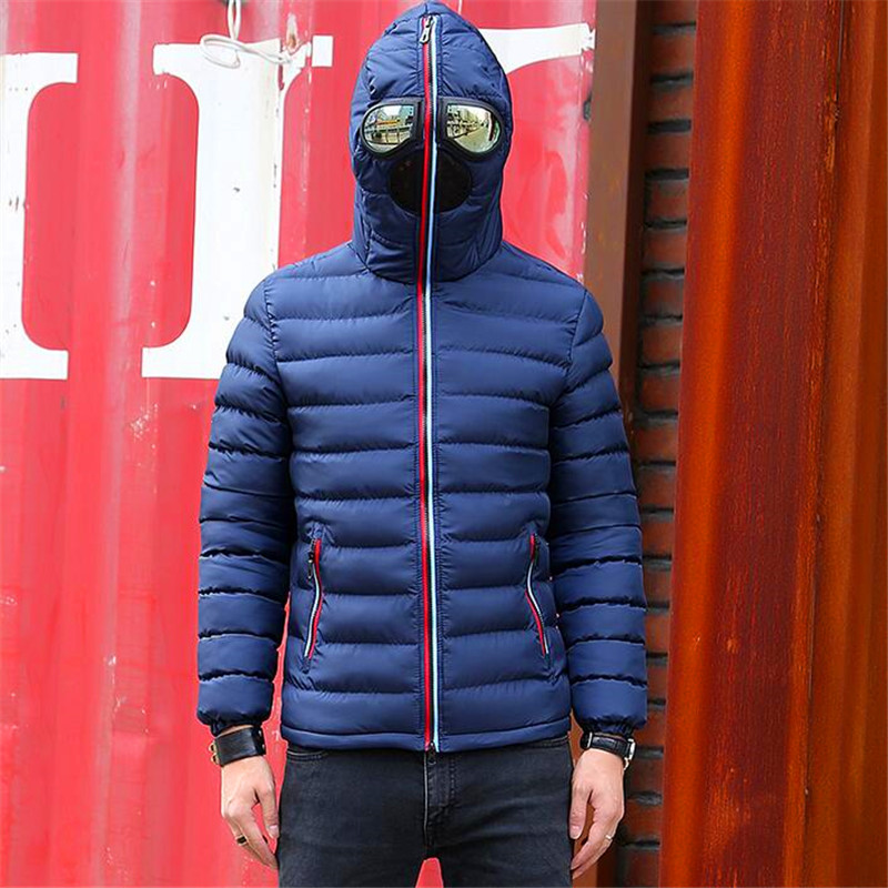 Winter Parka Men Warm Jacket Outerwear Padded Hooded 2017 Brand New Stylish Down Jackets With Glasses Windbreaker Coat Hombre down coat winter jacket men hooded parka with fur collar duck down jackets thick warm long outerwear male brand clothing