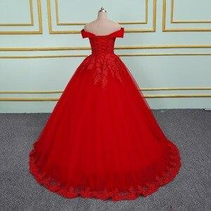 Image 5 - Vinca 써니 우아한 레이스 Applique 구슬 장식 공주 웨딩 드레스 2020 오프 숄더 새로운 모델 레드 볼 가운 웨딩 드레스
