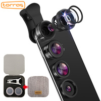 TORRAS 3 In 1 Phone Lens Clip On Alloy Metal Cell Phone Camera Lens Kit 15X