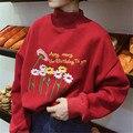 2017 Весна Новая Корея Ulzzang Harajuku ветер BF Моды Цветы Вышивка полу-высокий воротник бархат Женщин Sweatershirt Топы