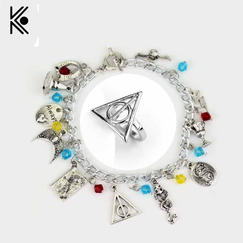 51cfa773d5c78 Beautiful Triangle death artifact eagle magic hat alloy pendents charm  bracelet   ring gift for fans