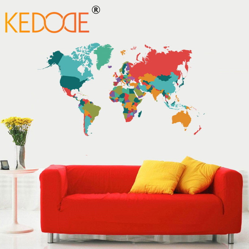 KEDODE New Color World Map Wall Stickers Living Room Bedroom Wall Art Odourless Wallpaper PVC Mural Large Size 60 * 107CM