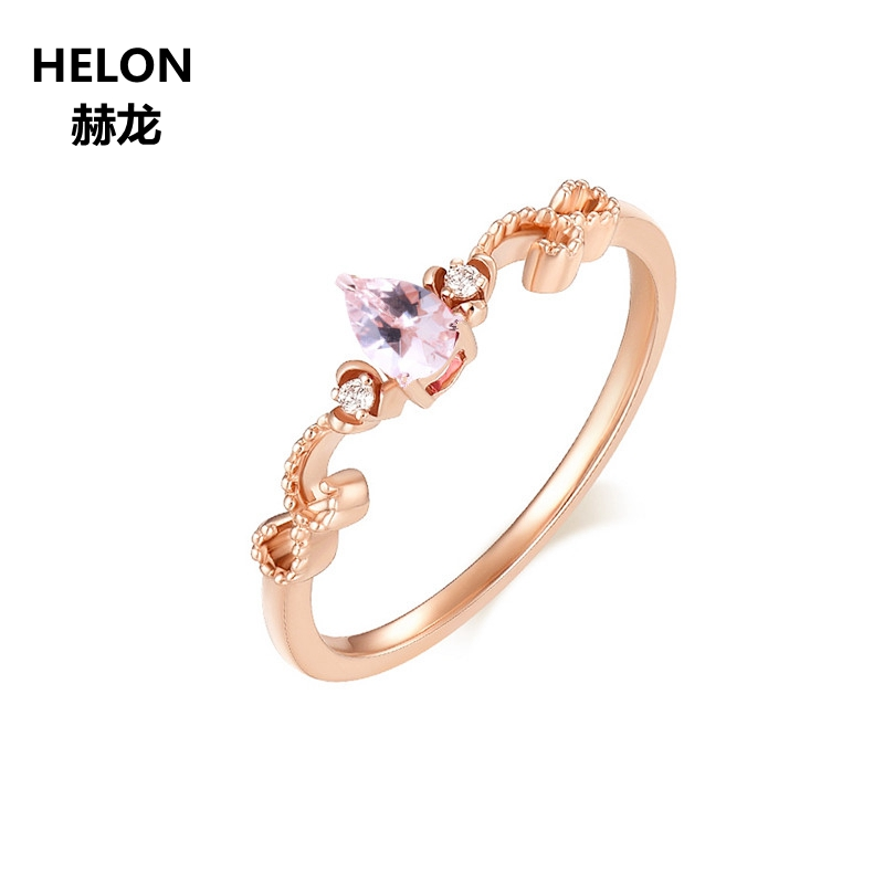 Solid 14k Rose Gold Natural Diamonds Engagement Wedding Ring 4x6mm Pear Pink Morganite Ring Fine Jewelry Women Vintage solid 14k white gold rose gold natural diamonds 5x7mm pear morganite ring wedding engagement fine jewelry