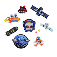 Planet Satellite Spacecraft Patches Iron On Embroidered Patch For Clothing Sticker Badge Paste Clothes Bag Pants